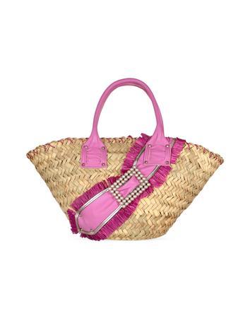 Foto der Handtasche Maschera Henkeltasche aus Leder und Stroh in lavendelfarben