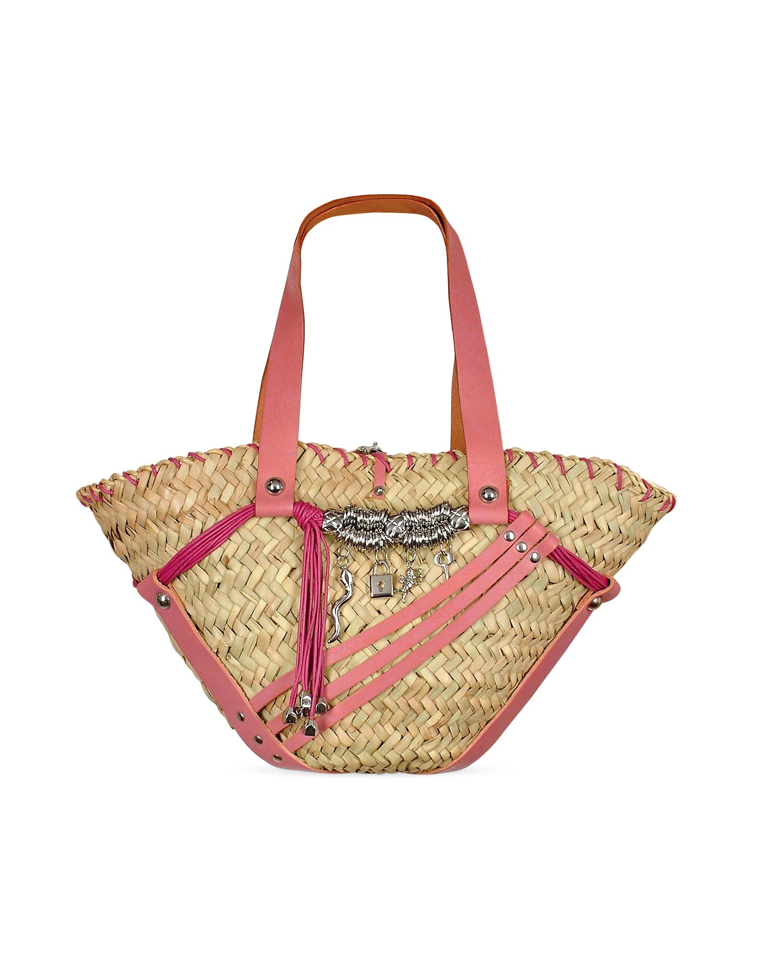Maschera  Charm Pendants Pink Leather & Straw Tote Bag