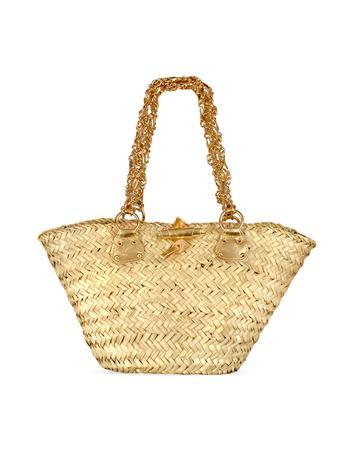 Foto der Handtasche Maschera Strohtasche mit goldenen Henkeln