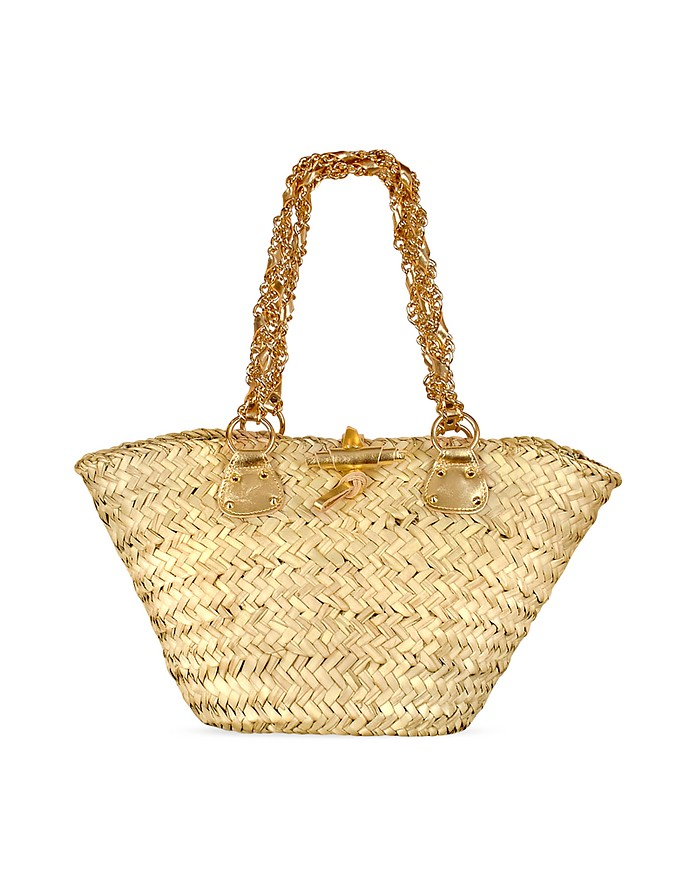 Gold Chain Straps Large Straw Tote Bag - Maschera
