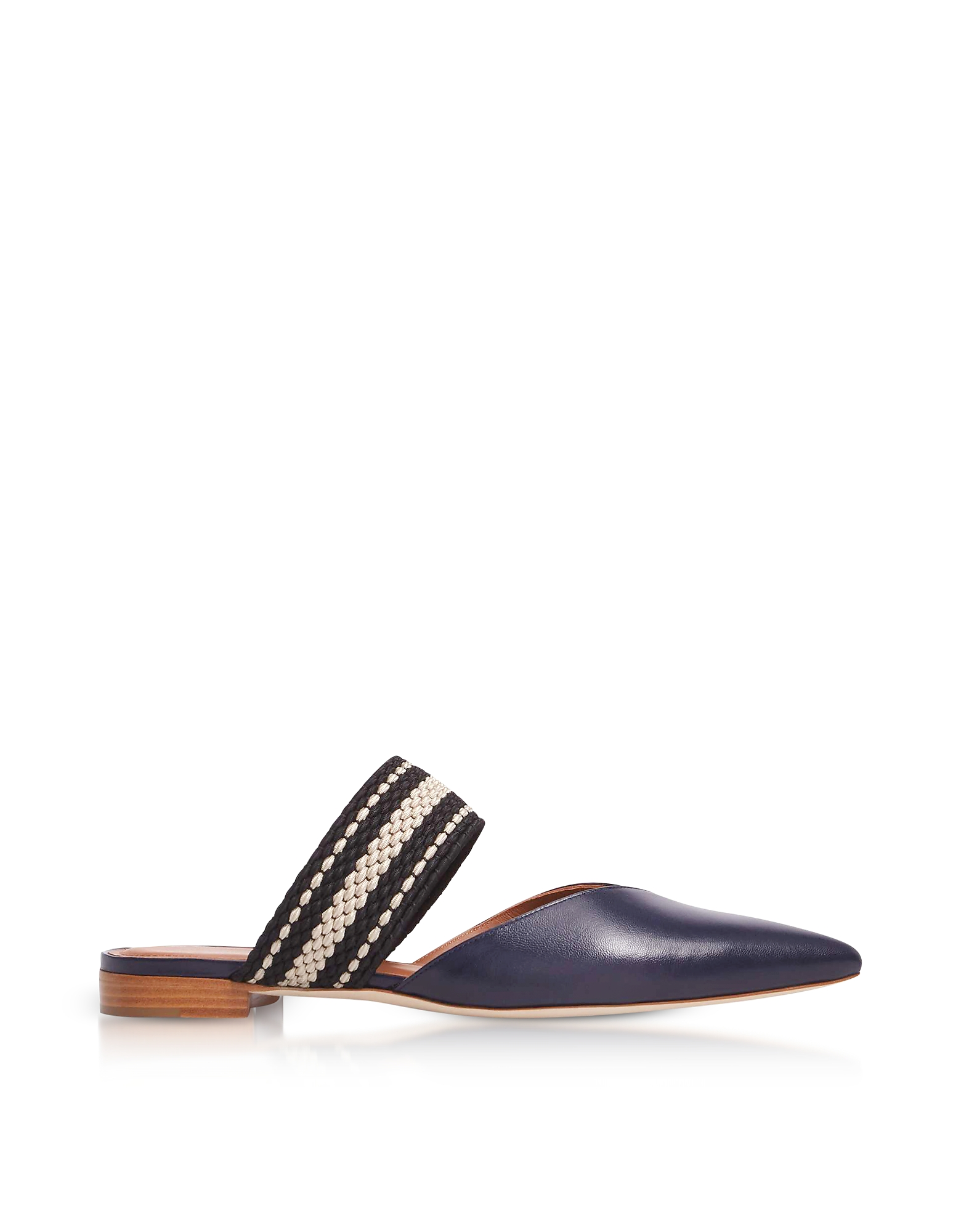 Malone Souliers Shoes, Hannah Navy Blue Nappa Leather Flat Mules w/Black-Beige Elastic Band