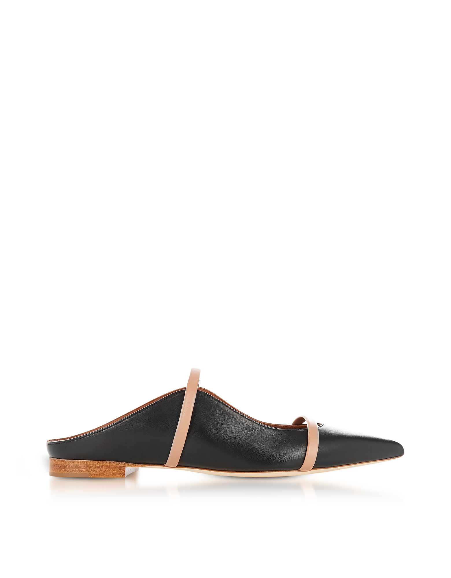 Malone Souliers Shoes, Maureen Black and Nude Nappa Leather Flat Mules