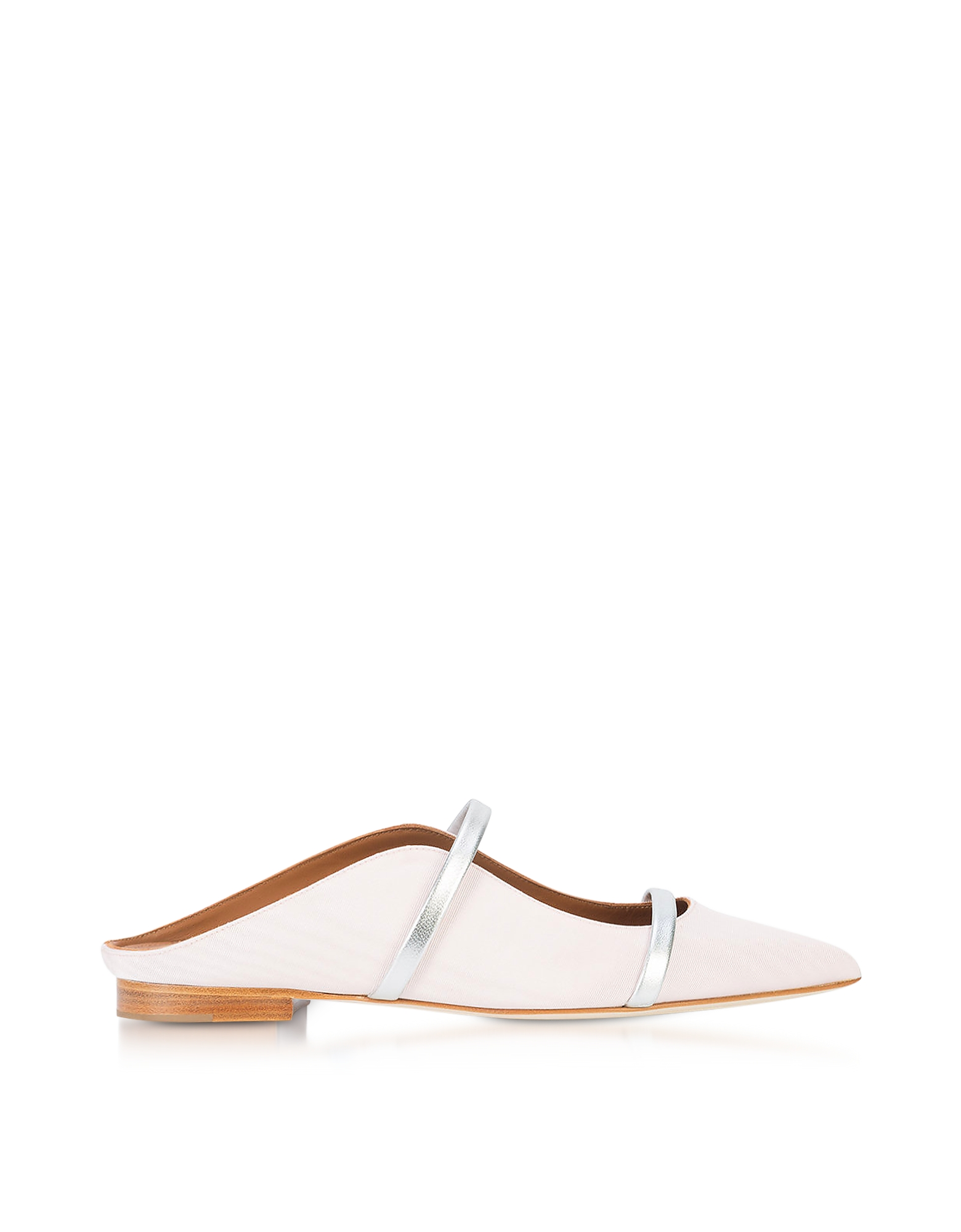 Malone Souliers Shoes, Maureen Rose Moire Fabric and Silver Metallic Nappa Leather Flat Mules
