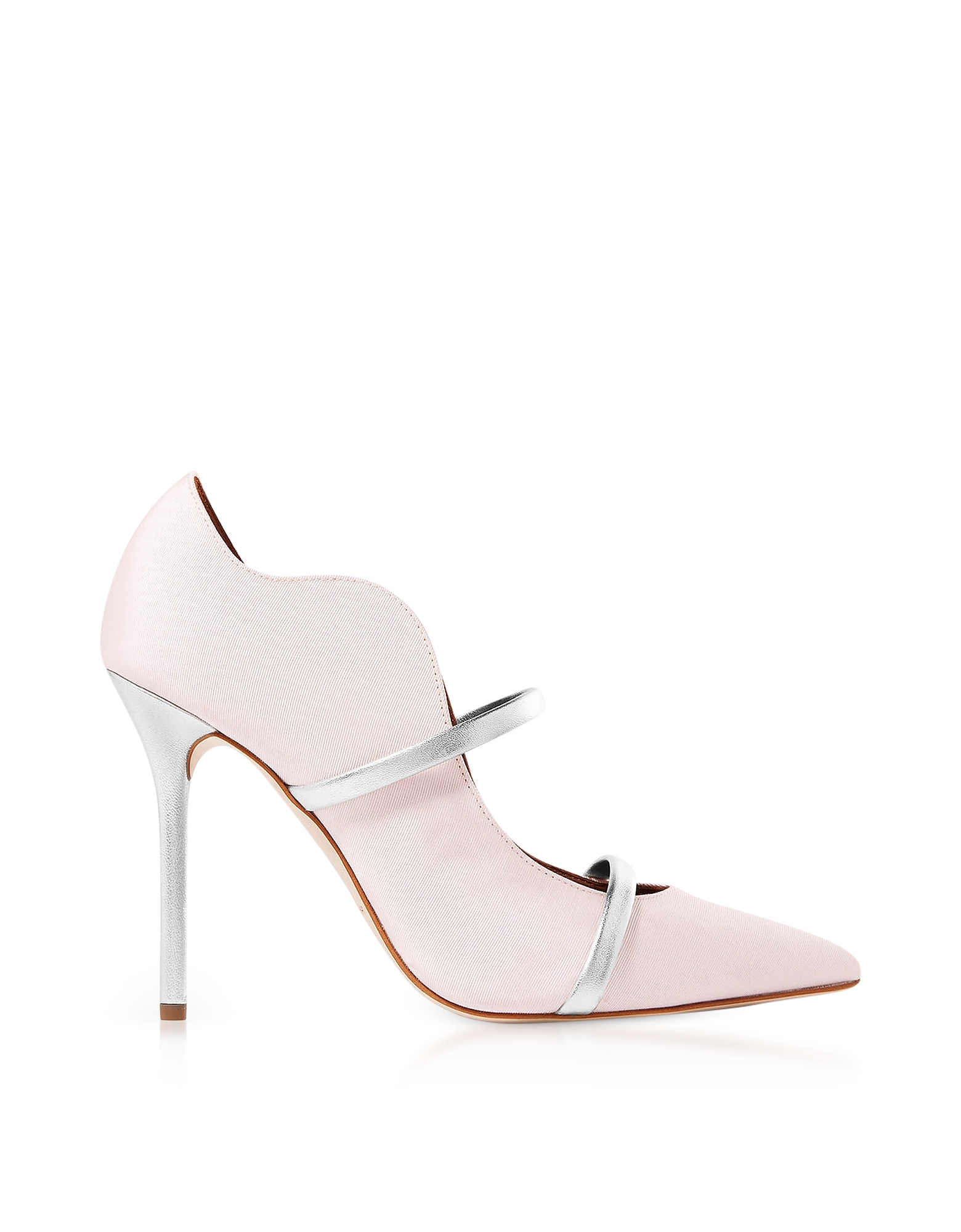 Malone Souliers Shoes, Maureen Rose Moire Fabric and Silver Metallic Nappa Leather High Heel Pumps