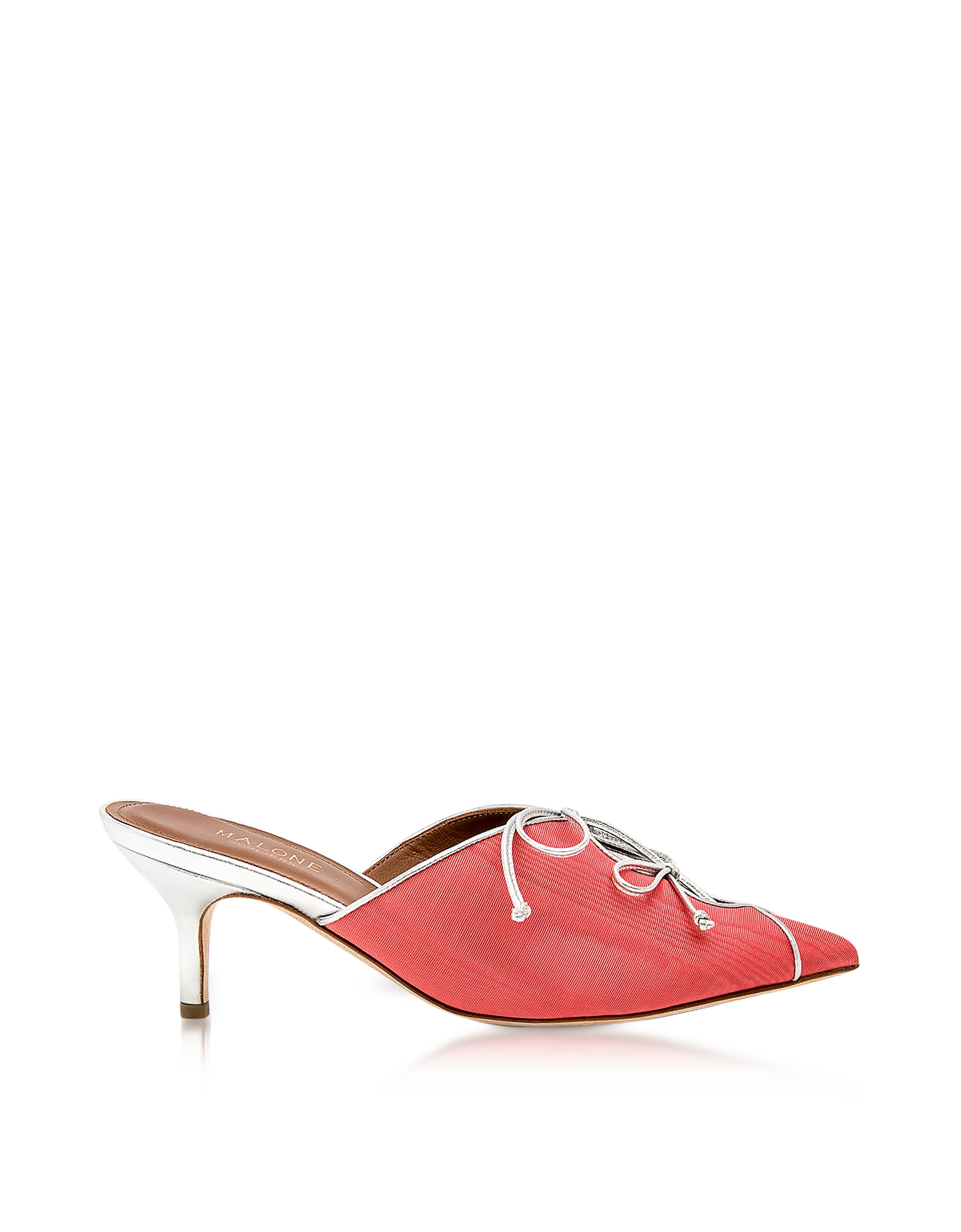 Malone Souliers Shoes, Victoria Hibiscus Moire Fabric and Silver Metallic Nappa Leather Mid Heel Mul