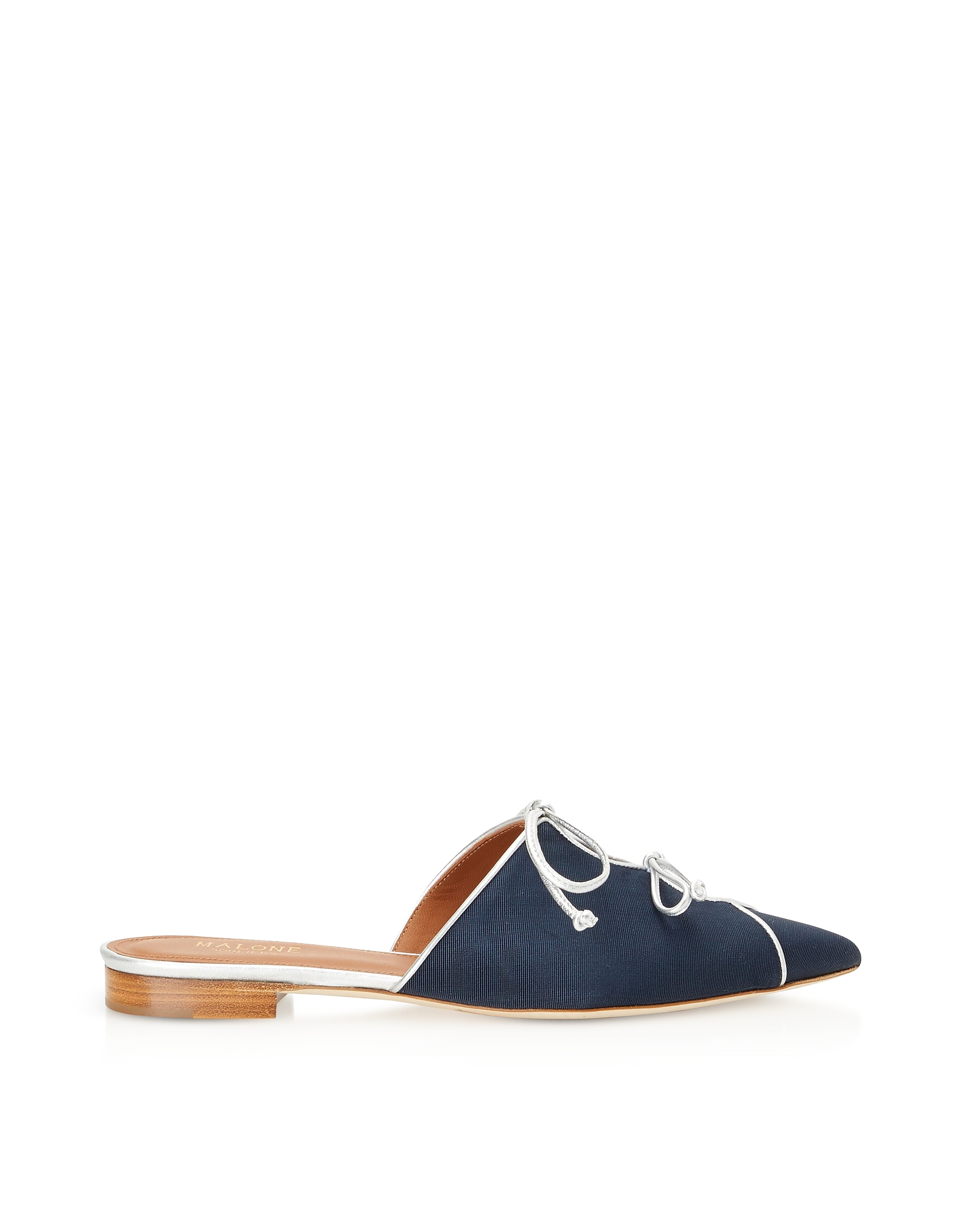 Malone Souliers Shoes, Vilvin Navy Blue Moire Fabric and Silver Metallic Nappa Leather Flat Mules