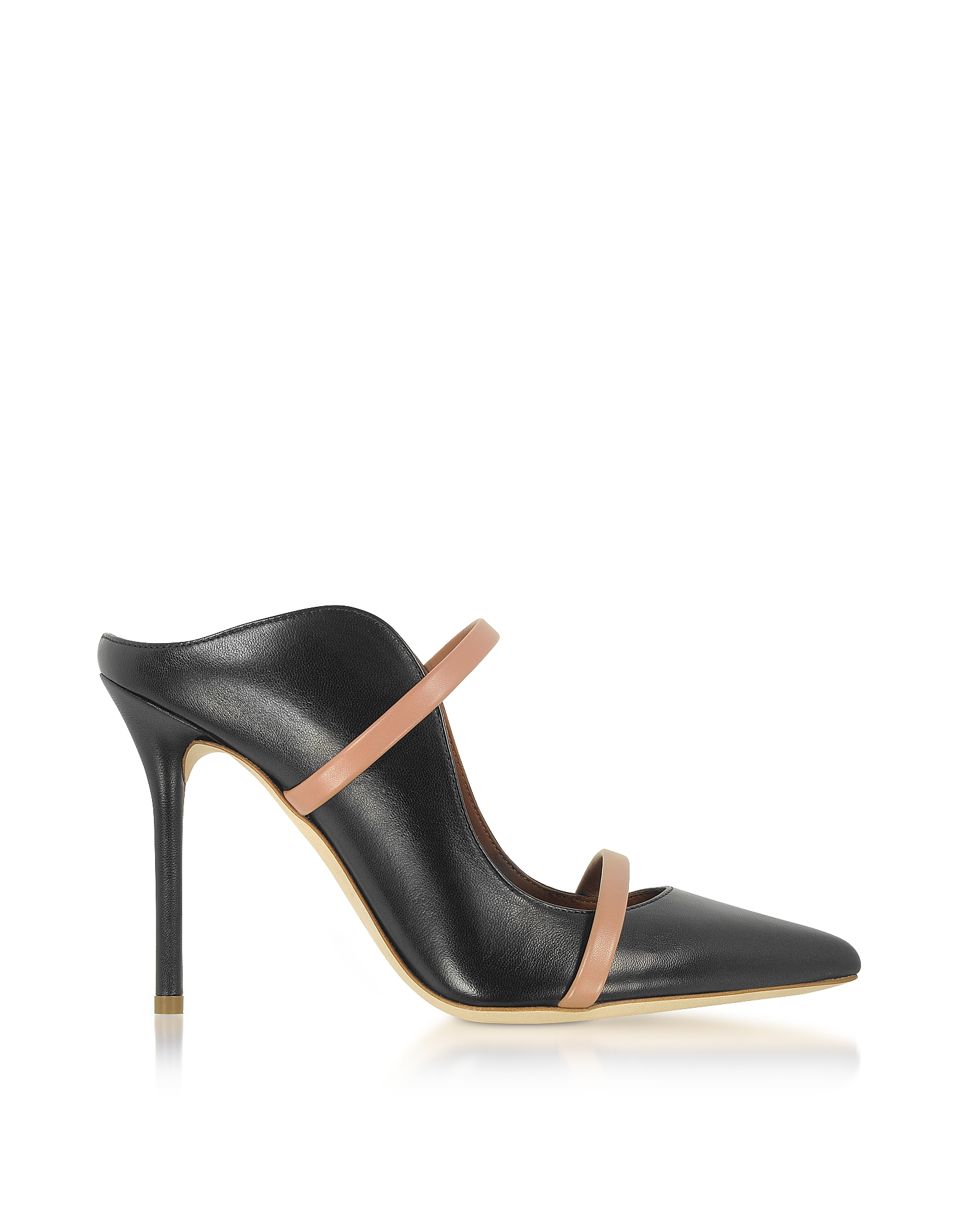 Malone Souliers Shoes, Maureen Black and Nude Nappa Leather High Heel Mules