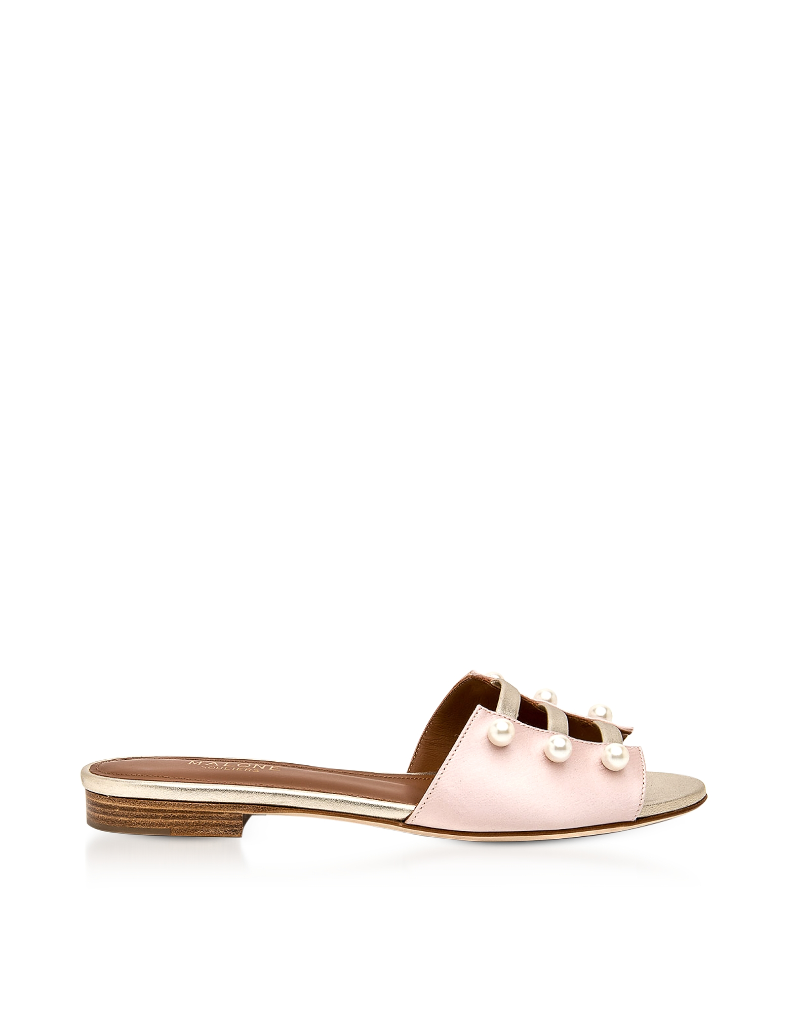 Malone Souliers Shoes, Zelda Rose Silk Satin and Platinum Metallic Nappa Leather Flat Sandals w/Pear