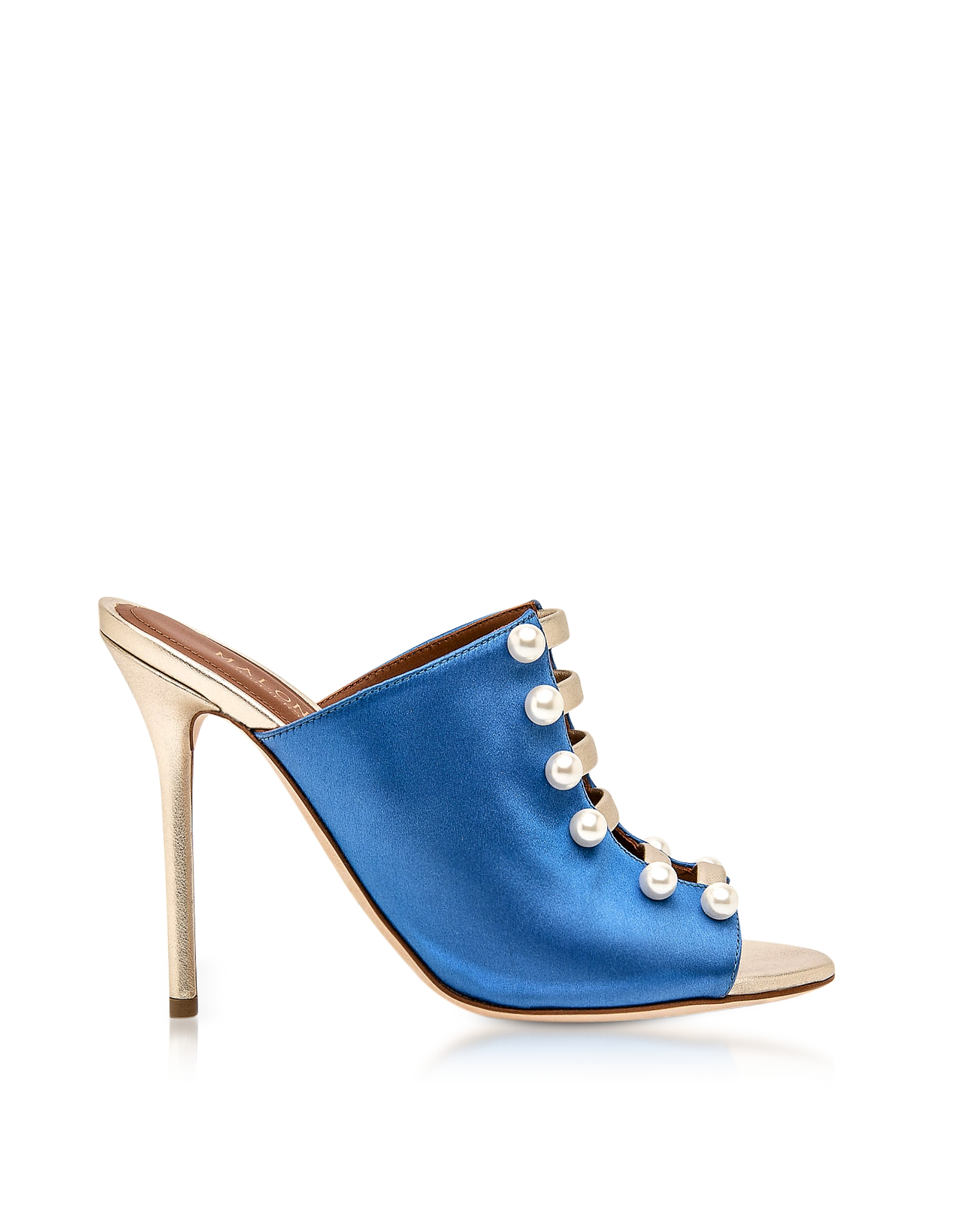 Malone Souliers Designer Shoes, Zada Blue and Platinum Satin High Heel Mules