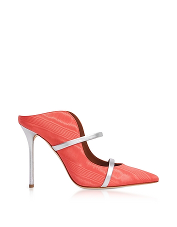 Maureen Ibiscus/Silver Moire and Nappa High Heel Mules
