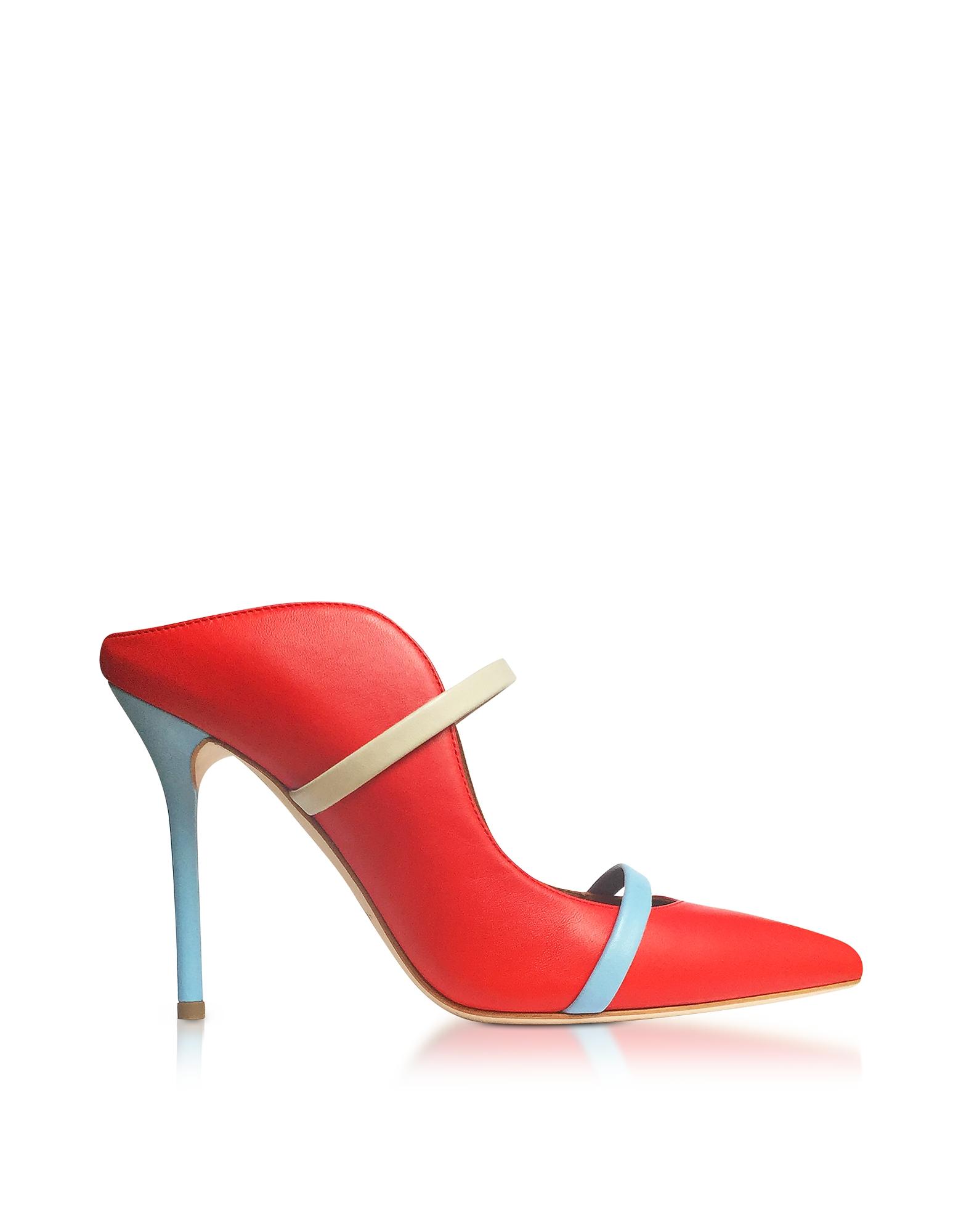 Rouge feu, la Glace et la Poudre Bleu Nappa Maureen High Heel Mules