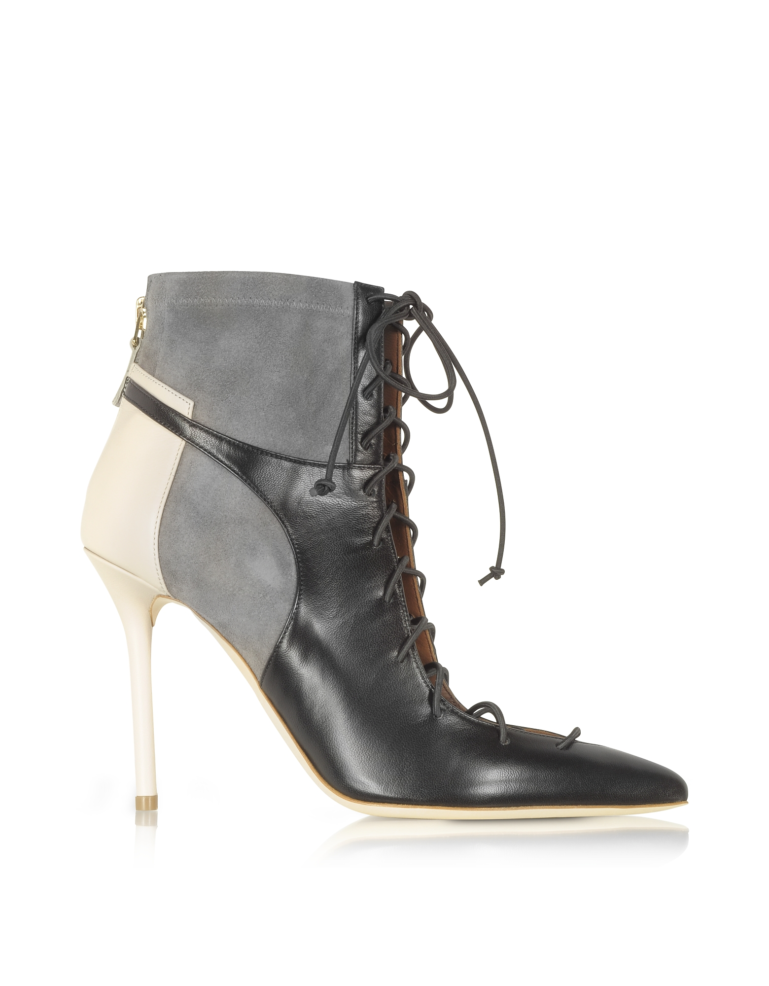 Malone Souliers Shoes, Color Block Nappa Leather and Stretch Suede Montana Bootie