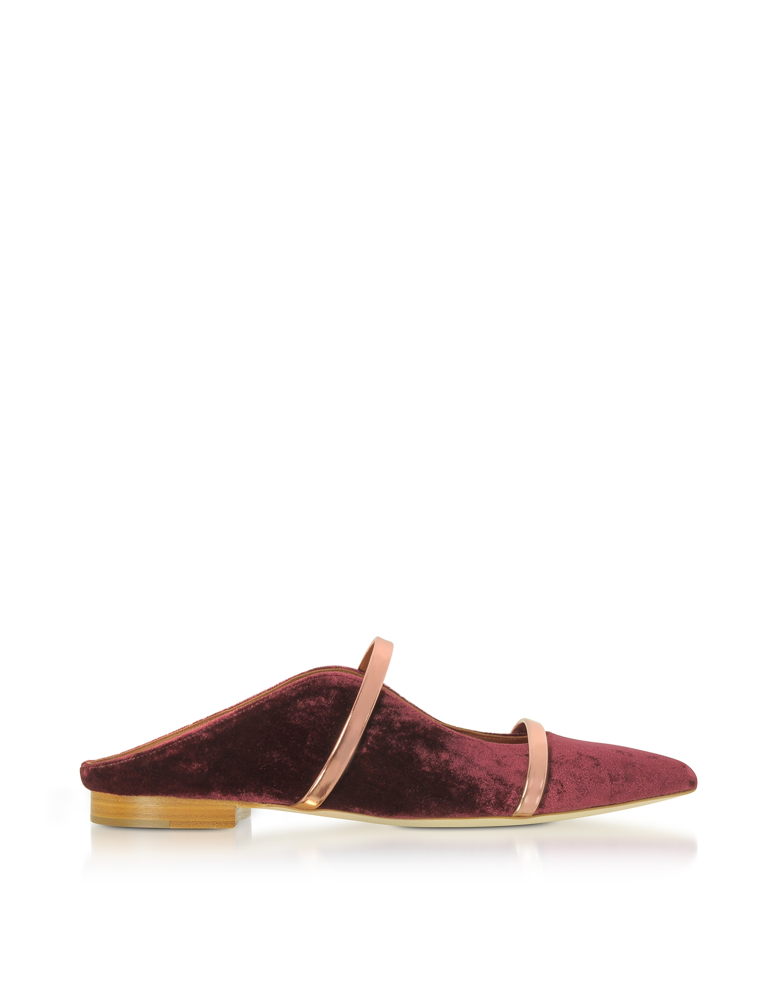 Malone Souliers Shoes, Plum Velvet and Rose Gold Nappa Leather Maureen Flat Slides