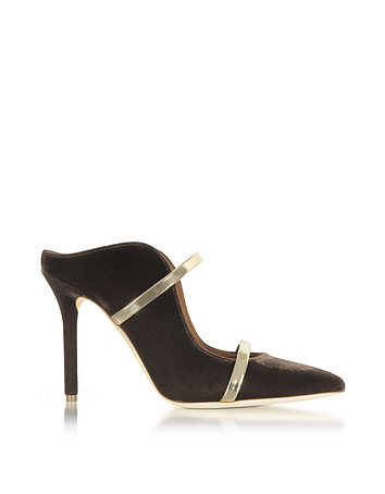 Malone Souliers - Maureen Taupe Velvet and Platinum Mirror Nappa High Heel Mule