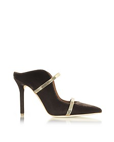 Maureen Taupe Velvet and Platinum Mirror Nappa High Heel Mule - Malone Souliers