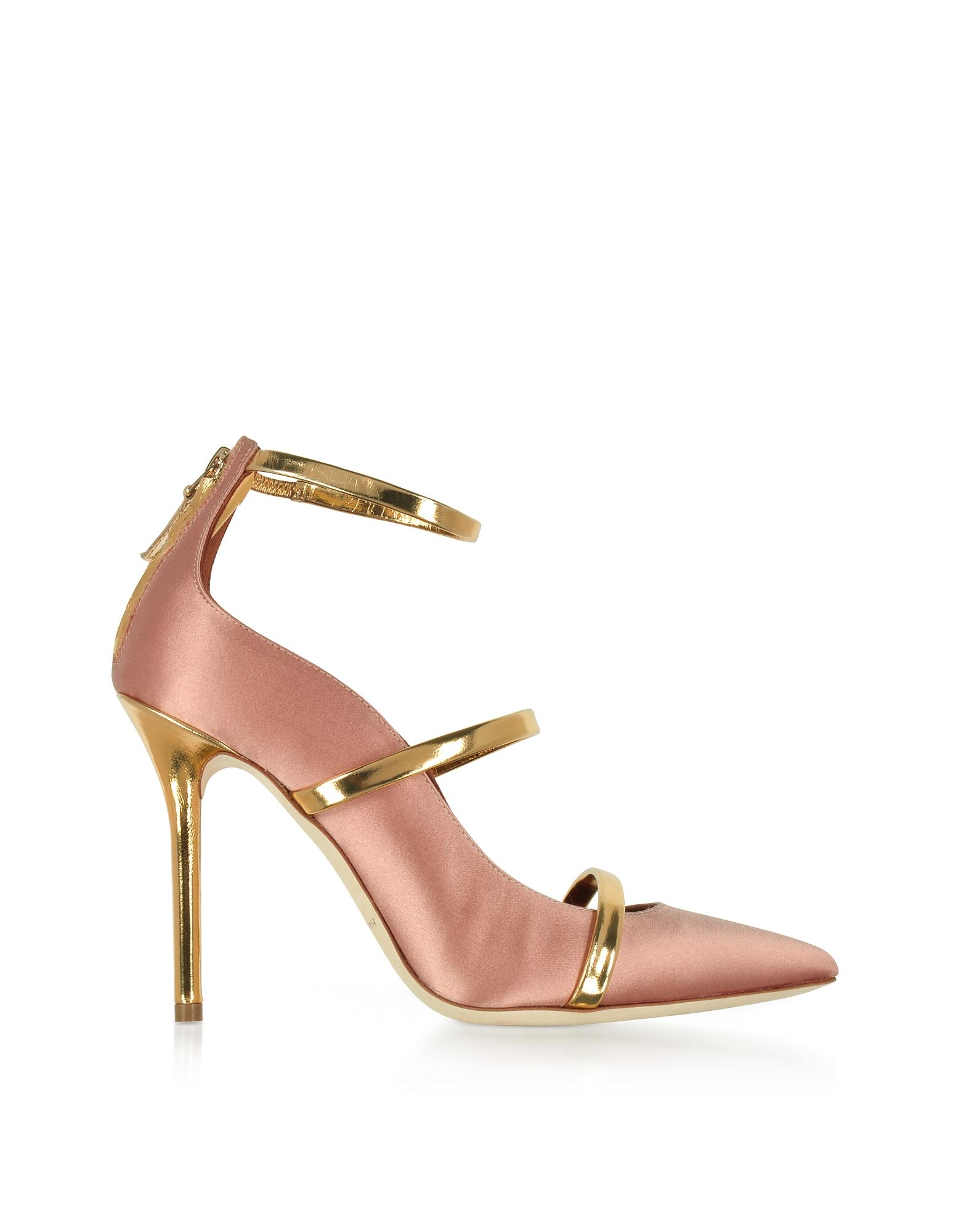 Фото Robyn - Светло-розовые Атласные Туфли-Лодочки с Деталями из Зеркальной Золотистой Кожи Наппа. Купить с доставкой