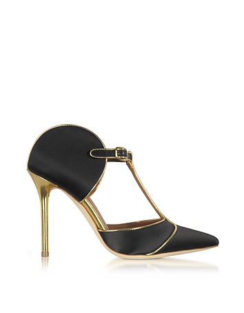 Malone Souliers - Imogen Black Satin and Gold Mirror Nappa Leather Pumps