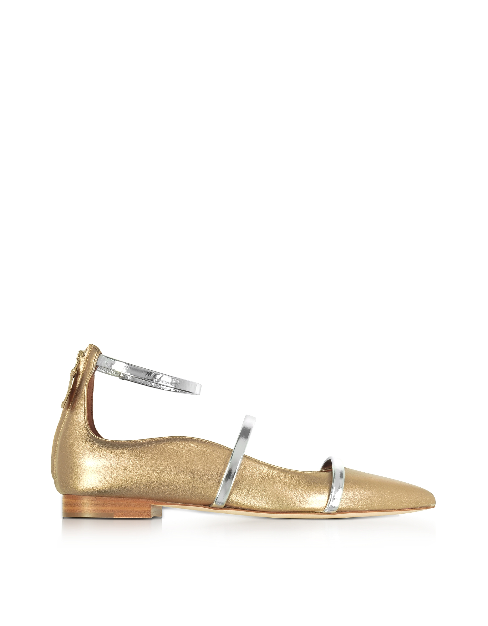 Malone Souliers Shoes, Robyn Flat Metallic Nappa Leather Ballerinas
