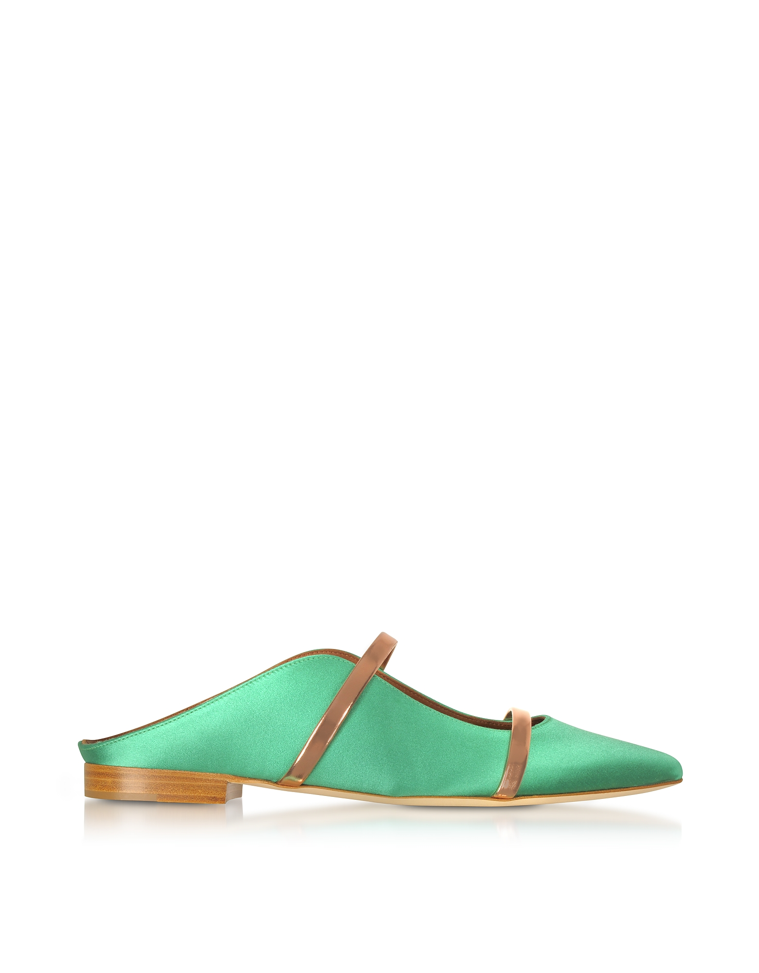 Malone Souliers Shoes, Maureen Emerald Green Satin and Rose Gold Nappa Leather Flat Mules