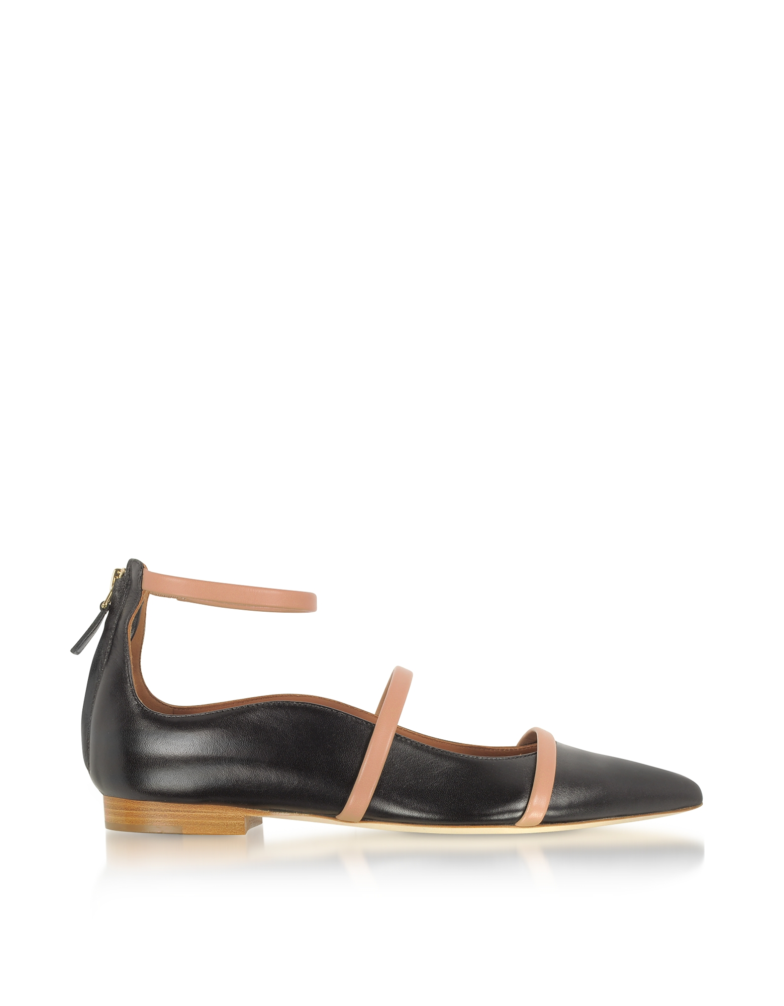 Malone Souliers Shoes, Robyn Flat Black and Nude Nappa Leather Ballerinas