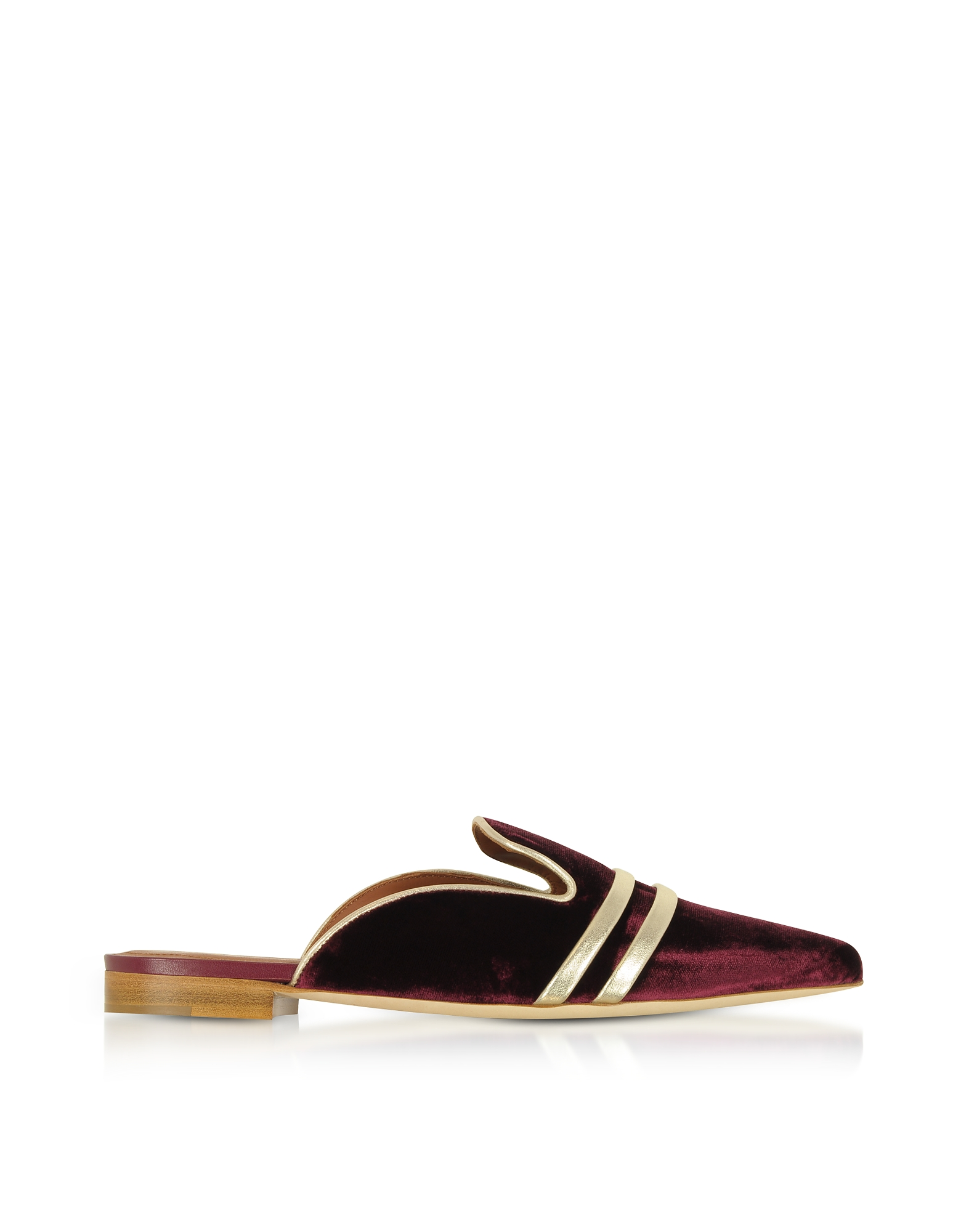 Malone Souliers Shoes, Hermione Burgundy Velvet and Platinum Nappa Flat Mules