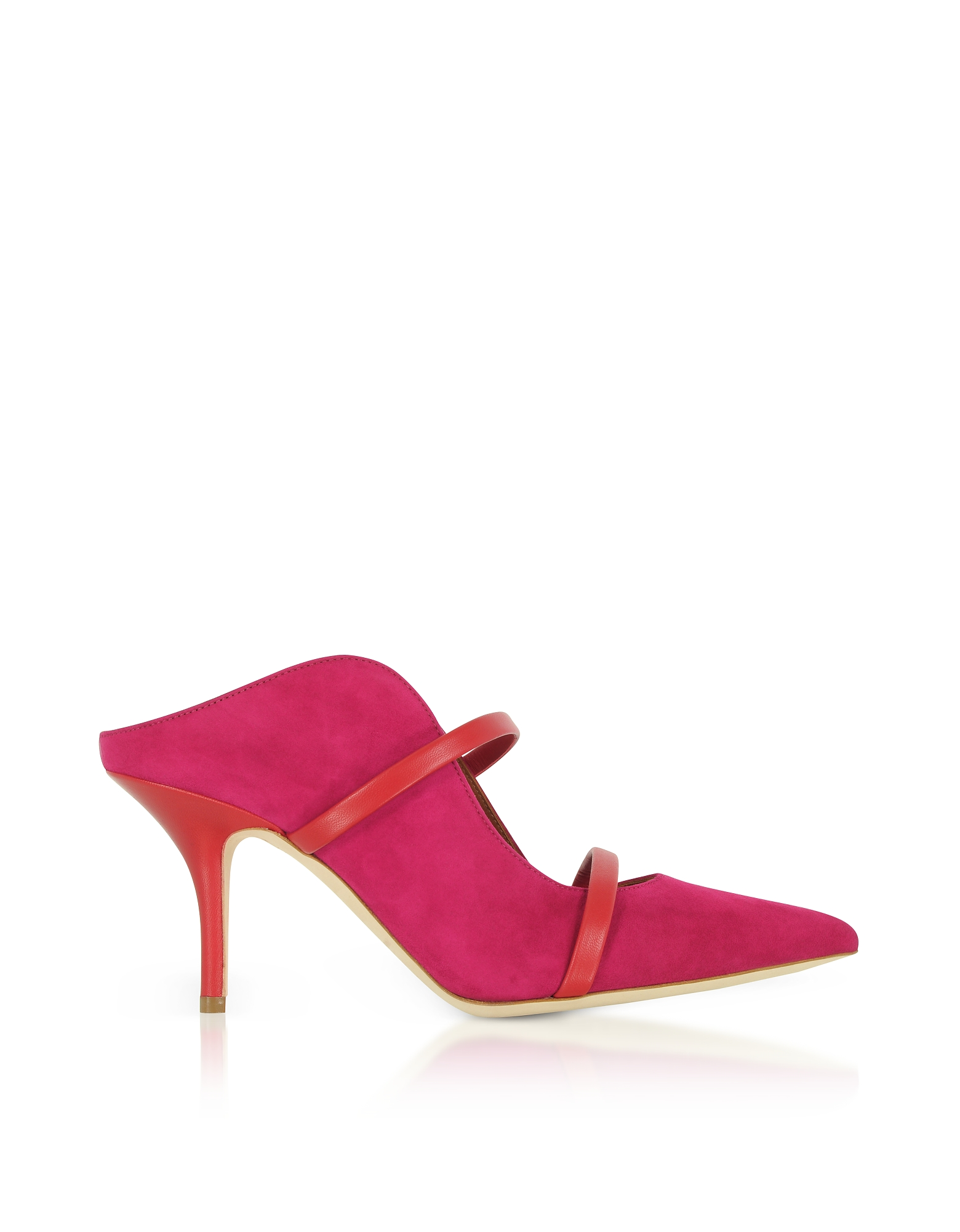 Maureen Red Suede and Cherry Nappa High Heel Mules