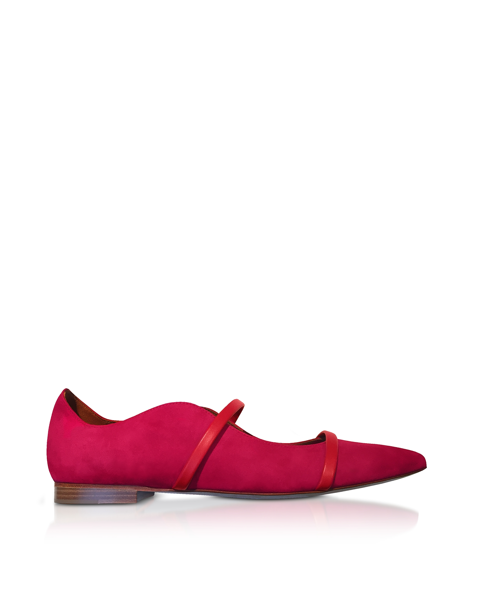 Maureen Red Suede and Cherry Nappa Flat Pumps