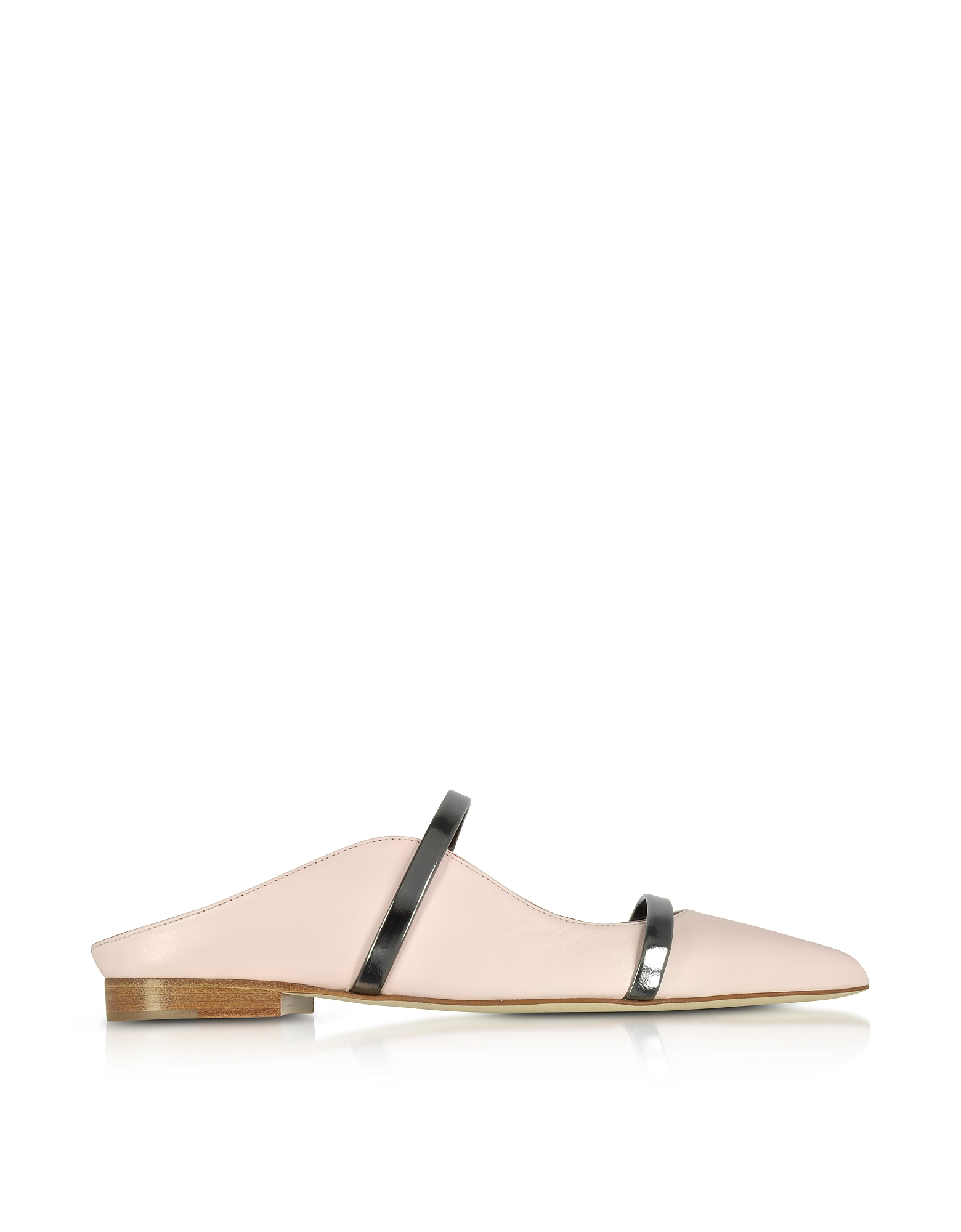 Malone Souliers Shoes, Maureen Flat Pink and Charcoal Nappa Leather Mules