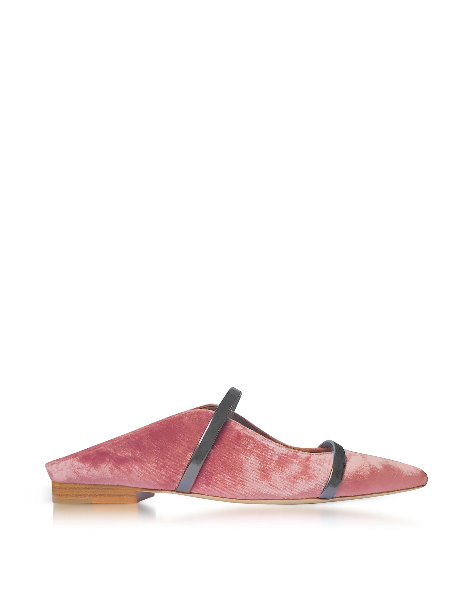 Malone Souliers Shoes, Maureen Flat Pink and Charcoal Velvet and Leather Mules