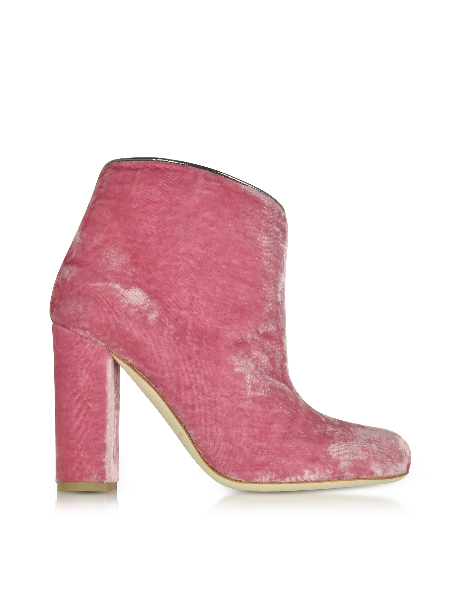 Malone Souliers Shoes, Eula Pink and Charcoal Velvet Ankle Boots