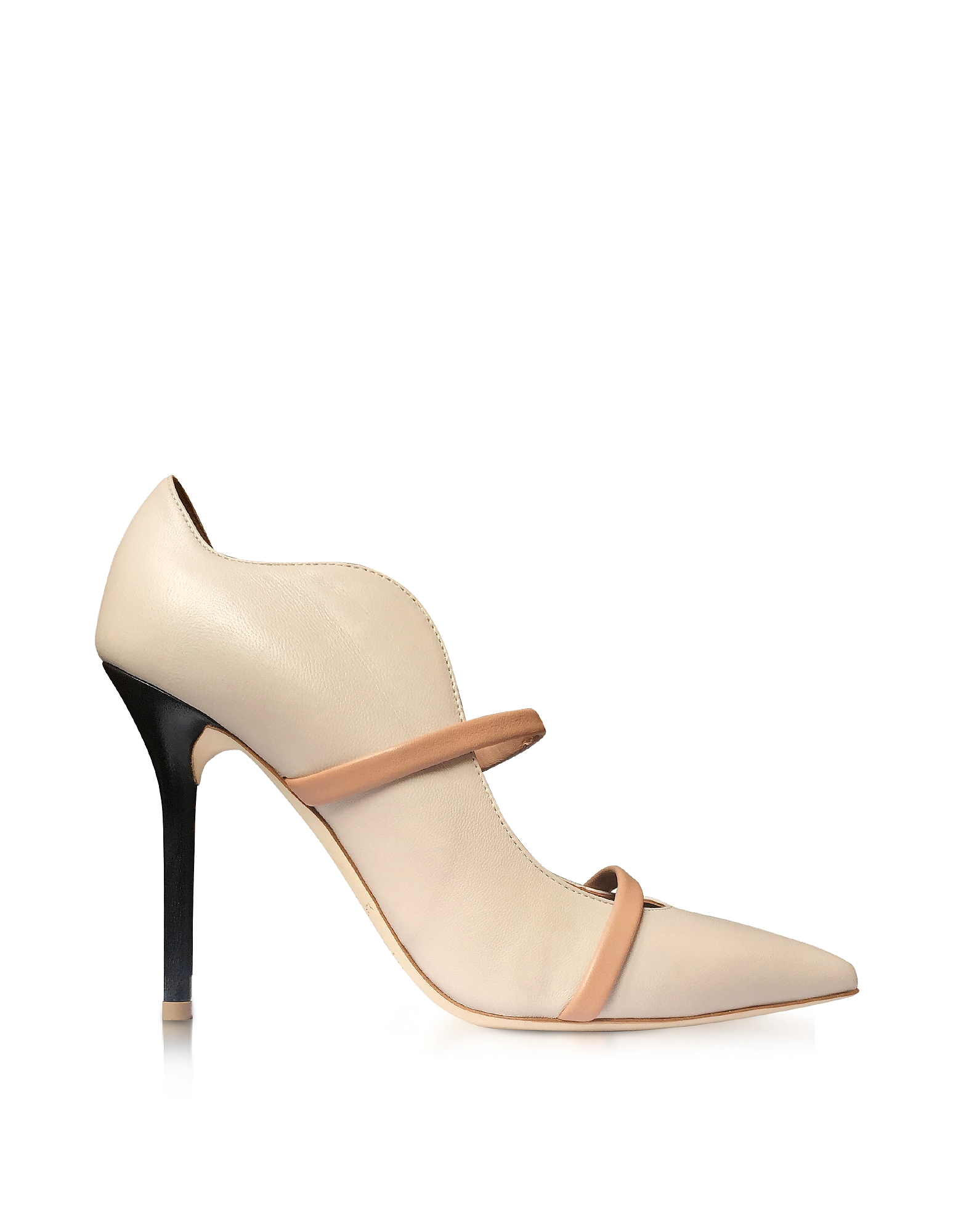 Malone Souliers Shoes, Maureen Ice, Nude and Black Nappa Leather High Heel Pump
