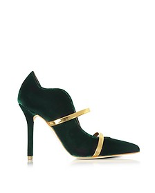 Maureen Forest Green Velvet High Heel Pump - Malone Souliers
