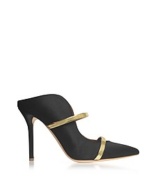 Maureen Black Satin and Metallic Nappa Leather High Heel Mules - Malone Souliers
