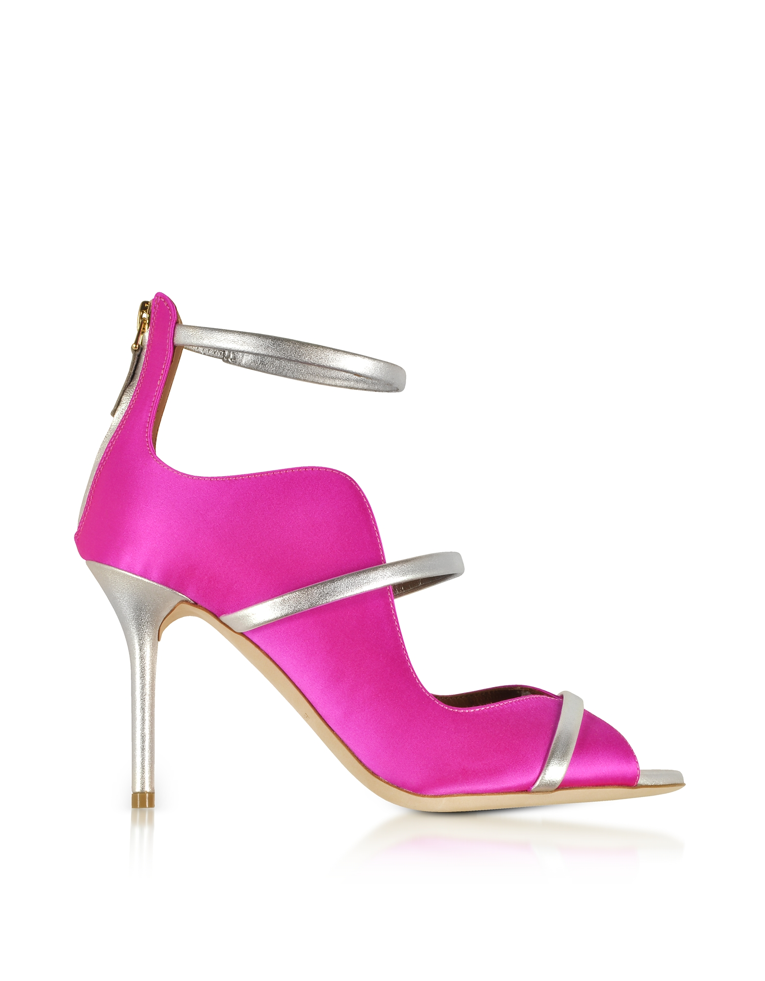 Malone Souliers Shoes, Mika 85 Fuchsia Satin and Metallic Leather High Heel Sandals