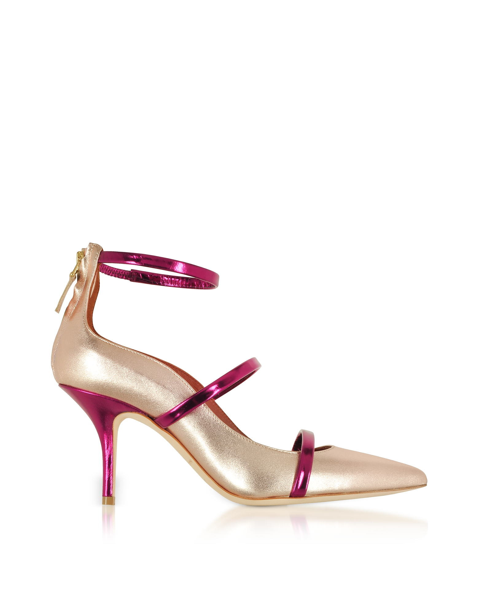 Malone Souliers by Roy Luwolt Shoes, Robyn 70 Metallic Nappa Leather High Heel Pumps