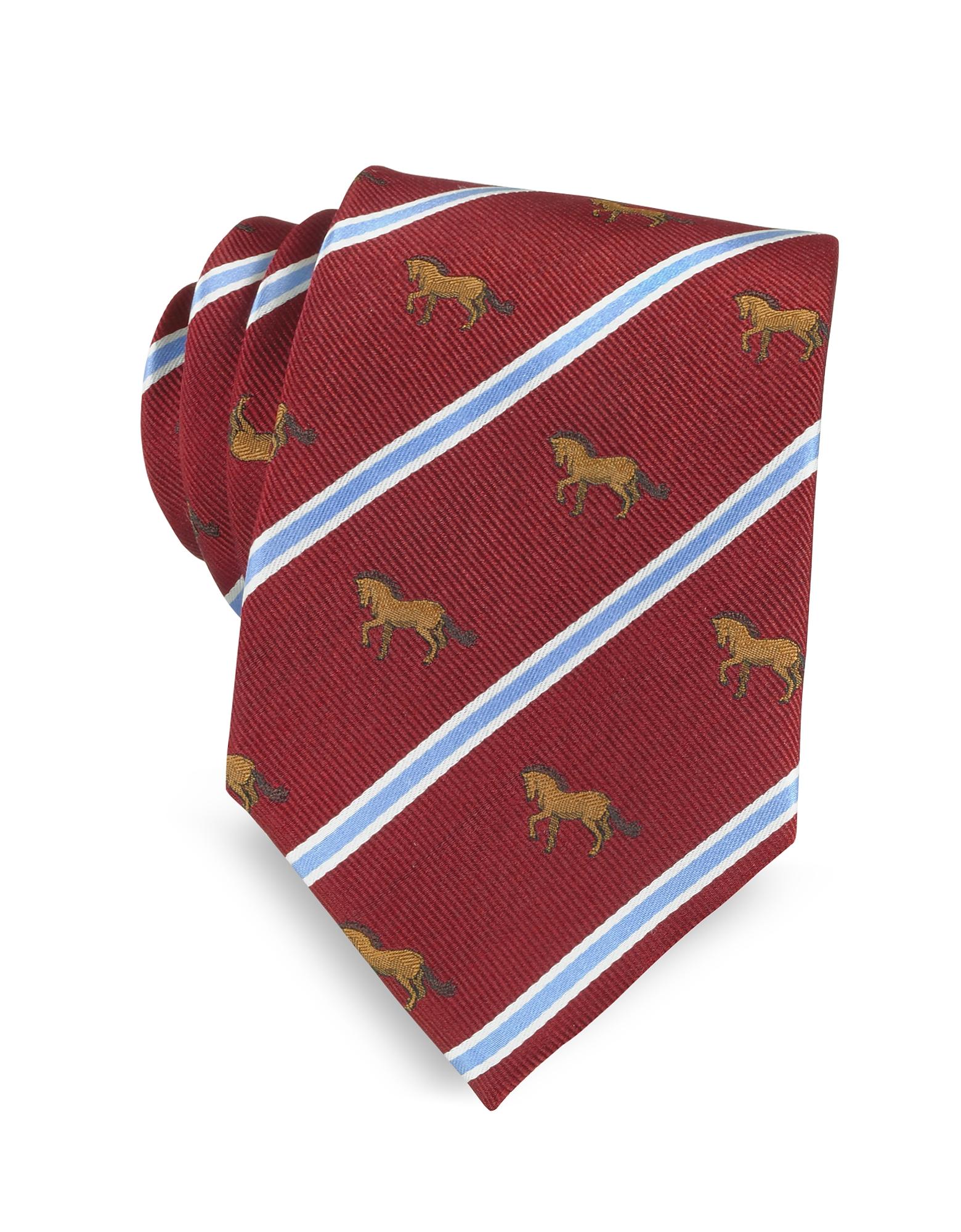 Marina D'Este Ties, Riding Horse Woven Silk Tie