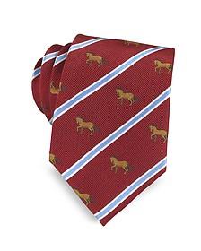 Riding Horse Woven Silk Tie - Marina D'Este