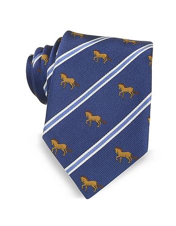 Marina D'Este - Riding Horse Woven Silk Tie