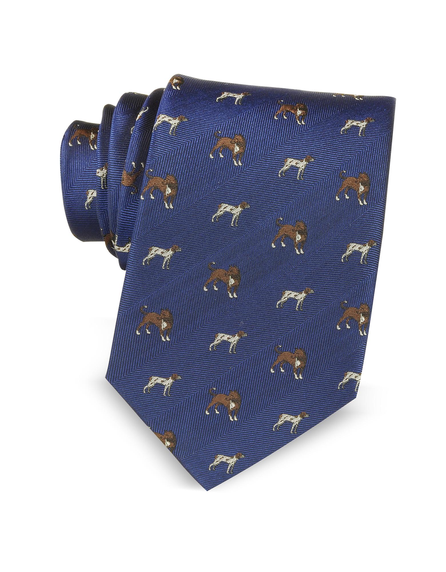 Cravate en Soie Tissée Bleue à Motif Chiens