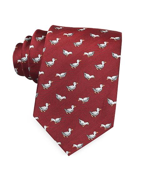 Marina DEste White Duck Woven Silk Tie