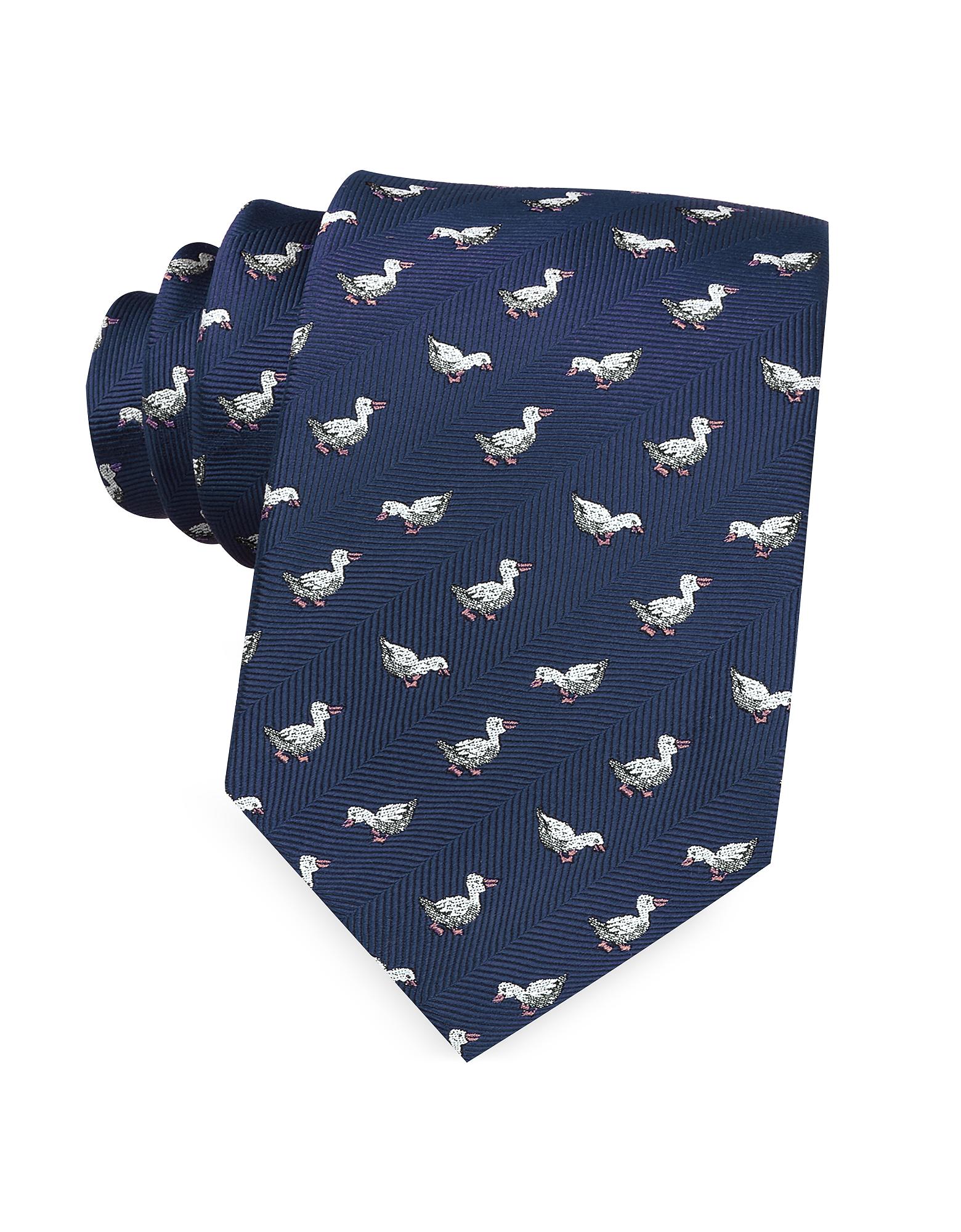 Marina D'Este Ties, White Duck Woven Silk Tie