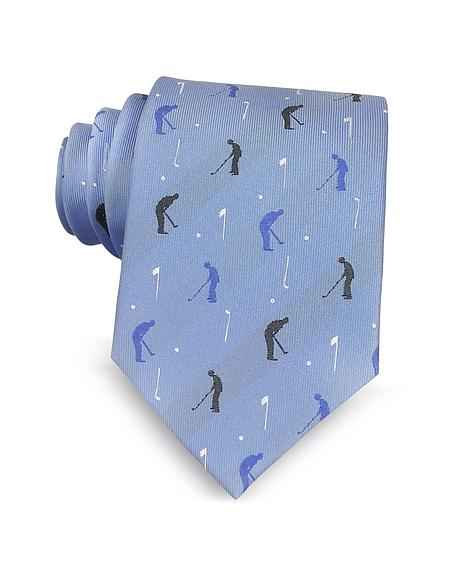Marina DEste Golf Player Light Blue Woven Silk Mens Tie
