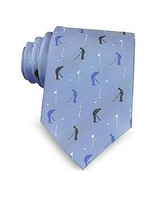 Cravate en Soie Tissée Bleu Clair à Motif Joueur de Golfe - Marina D'Este