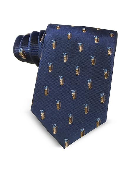 Marina DEste Golf Bag Light Blue Woven Silk Mens Tie