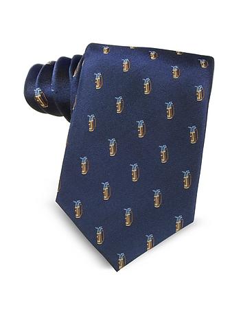 Marina D'Este - Golf Bag Light Blue Woven Silk Men's Tie
