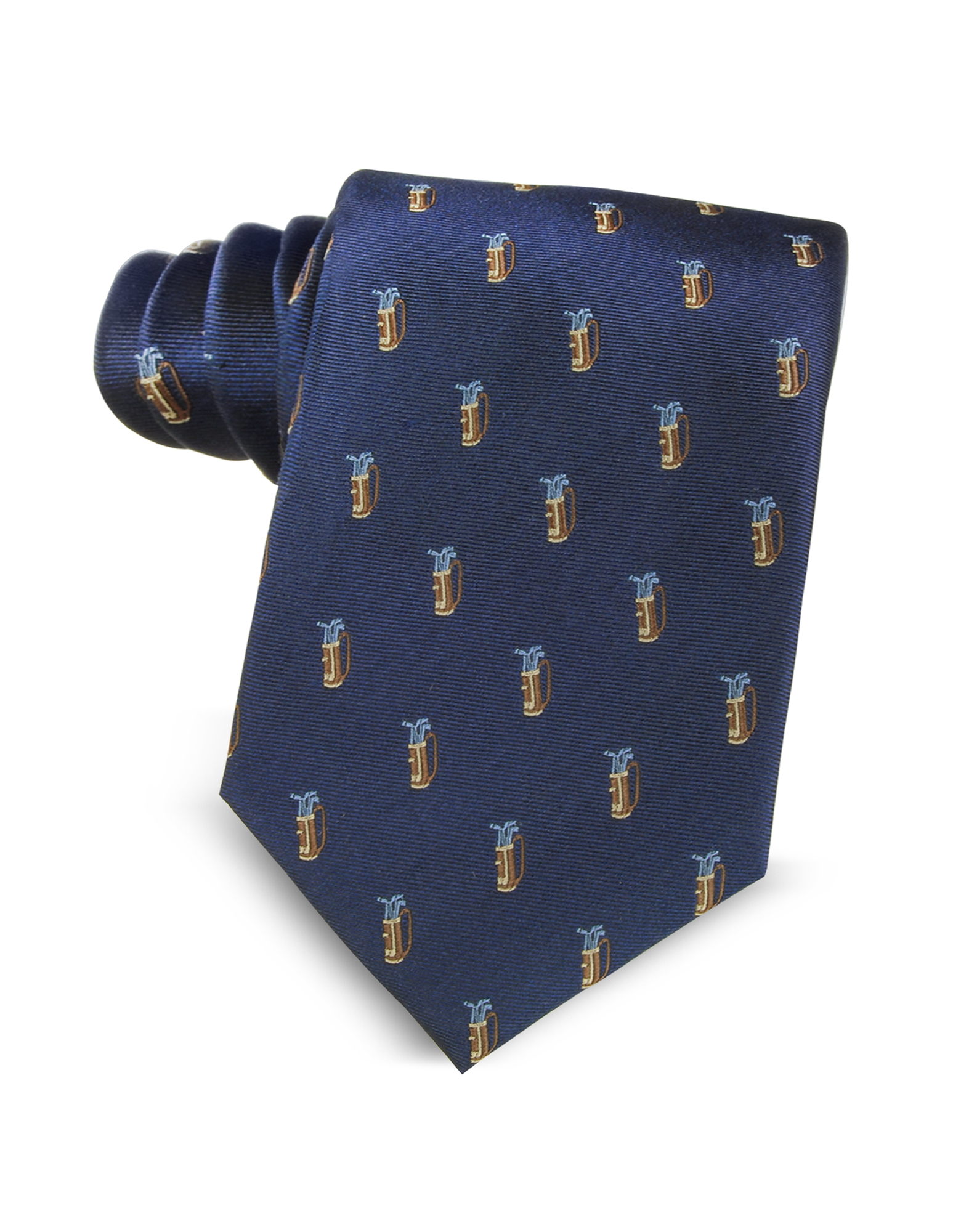 Marina D'Este Ties, Golf Bag Light Blue Woven Silk Men's Tie