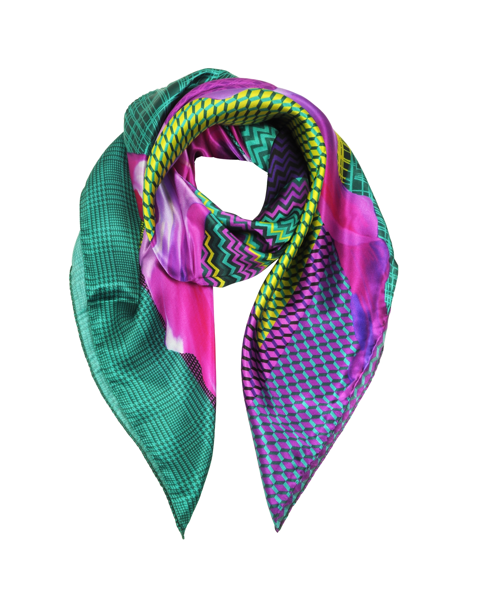 Zig-Zag and Flower Printed Twill Silk Square Scarf