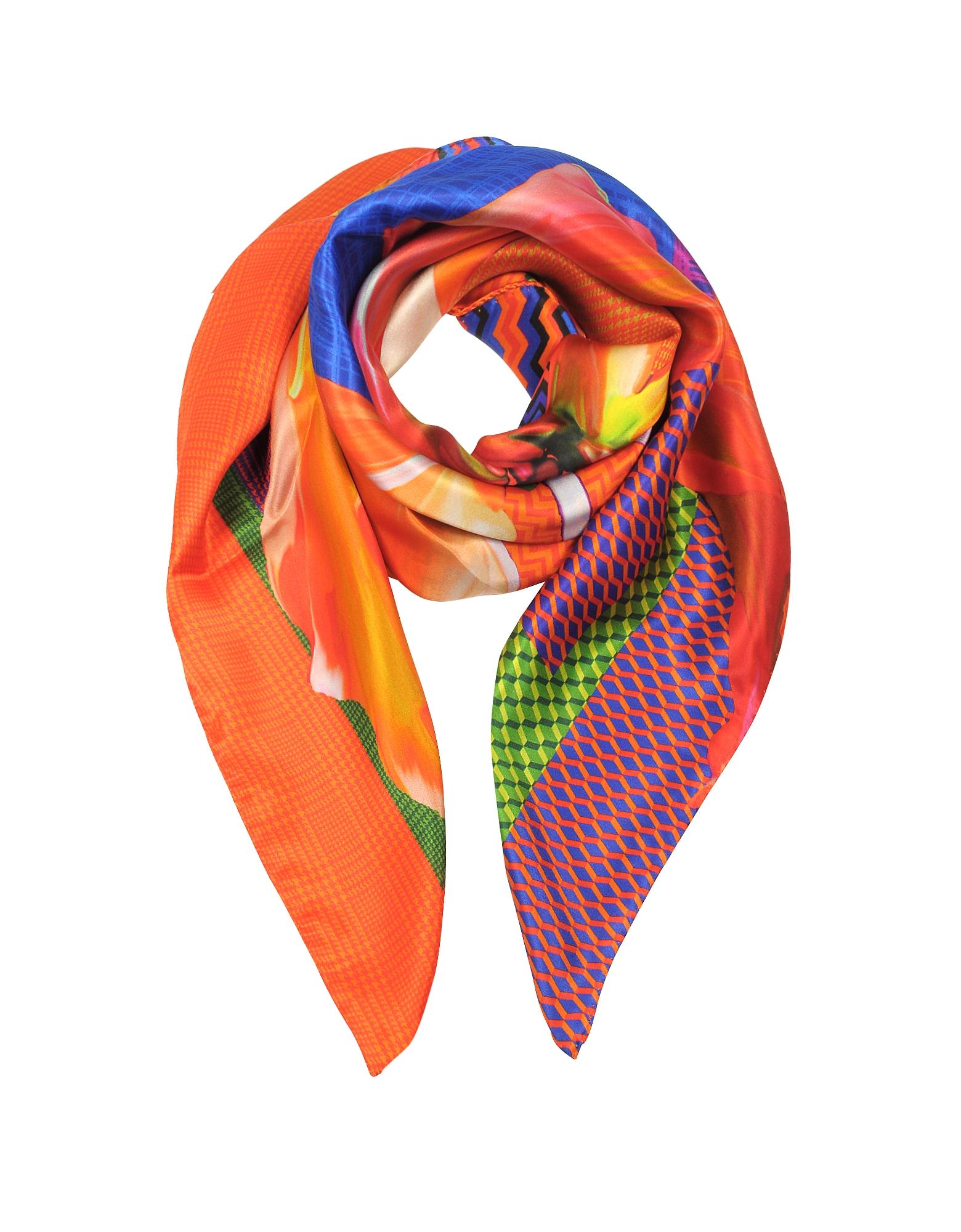 Zig-Zag and Flower Printed Twill Silk Square Scarf, Orange