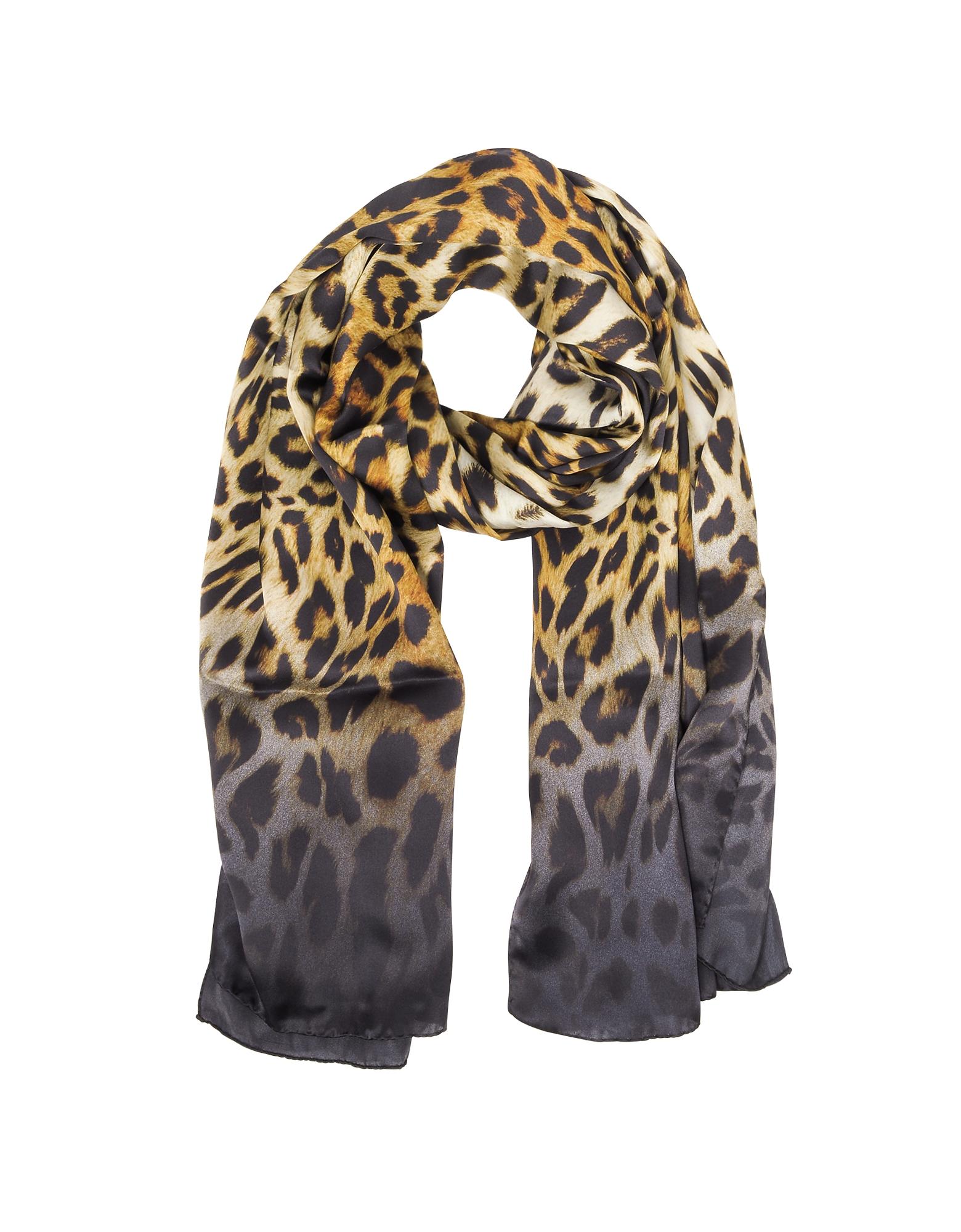 Animalier Twill Silk Stole, Dark brown/brown