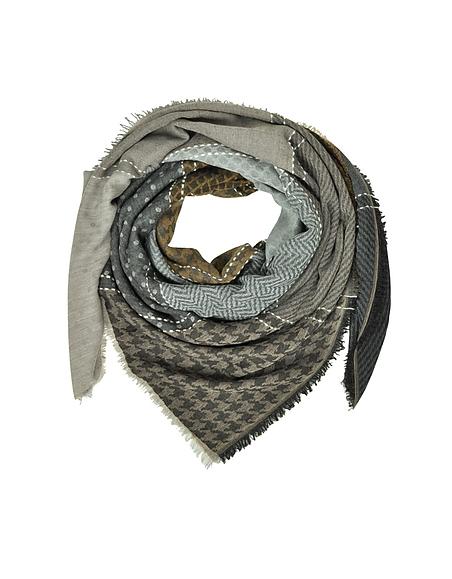 Marina DEste Printed Wool and Acrylic Shawl